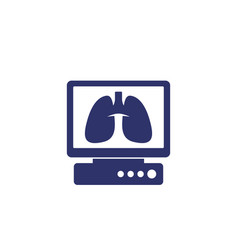 Lungs on screen icon on white vector