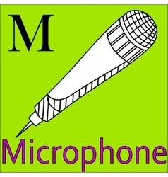 M letter alphabet Coloring microphone vector