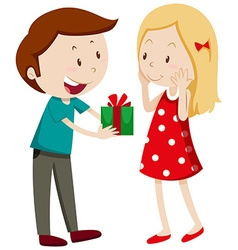Man giving gift to girlfriend vector