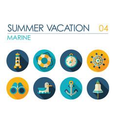 marine flat icon set vector image