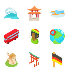 Migrate icons set cartoon style vector