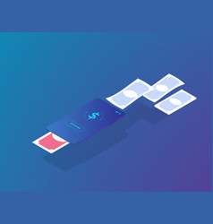 money exchange application on mobile smartphone vector image
