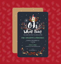 oh what fun christmas party invitation card vector image