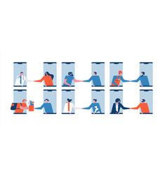 online worker people service set on phone app vector image