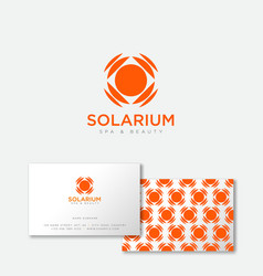 orange solarium logo sun emblem suntan salon vector image