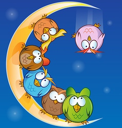 Owl group cartoon on moon vector