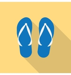 Pair of blue summer flip flops vector