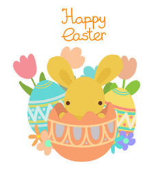 pastel rabbit in the easter egg and flowers vector image