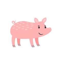 pig cartoon pink farm animal vector image