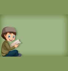 Plain background with muslim boy reading book vector