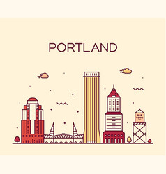 Portland oregon usa linear art style city vector