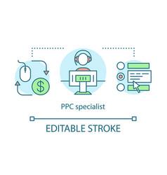Ppc specialist concept icon digital marketing vector