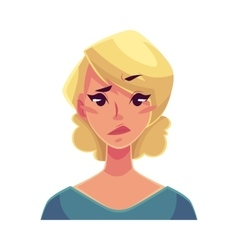 Pretty blond woman upset confused facial vector