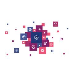 Productivity infographic 10 steps pixel design vector