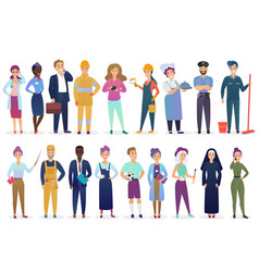Professional workers people set standing together vector