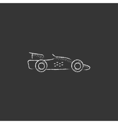 Race car Drawn in chalk icon vector image