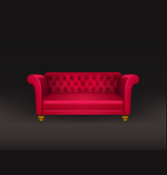 red couch sofa isolated on black background vector image
