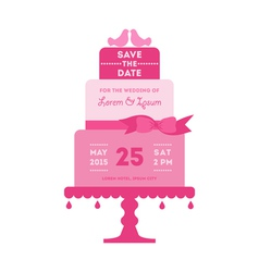 Save the date - wedding card with cake vector