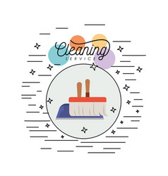 Scrub brush and dust pan cleaning service colorful vector
