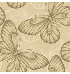Seamless background with brown butterflies vector
