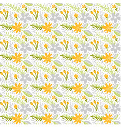 seamless pattern with flat flower bouquet vector image