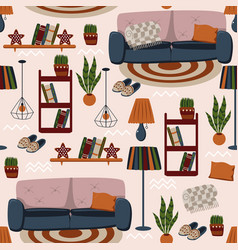 Seamless pattern with sofa and bookshelves vector