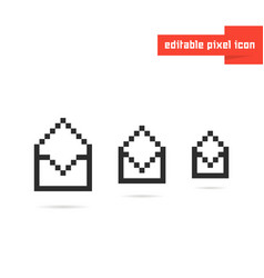 set of black editable pixel art envelopes vector image
