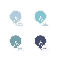 Set of paper stickers on white background economic vector image