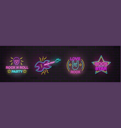 set rock music symbols and signs neon realistic vector image