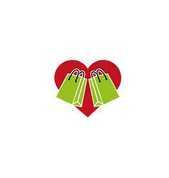 shopping bag inside a heart icon logo icon vector image