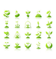 sprout simple green gradient icons set vector image