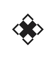 Square geometric cross x logo vector