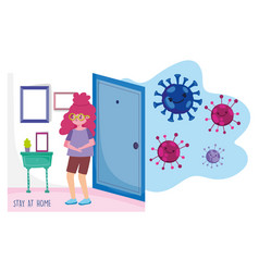 Stay at home young woman in room protection vector