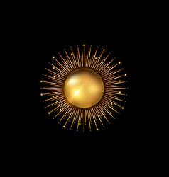 sun logo gold icon concept sunburst golden sign vector image