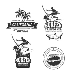 Surfing labels or badges vector image