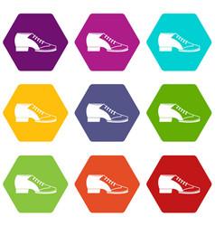 tango shoe icon set color hexahedron vector image