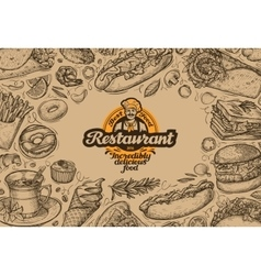 template design menu restaurant or diner hand vector image