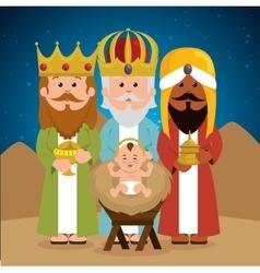 Three wise kings bajesus manger vector