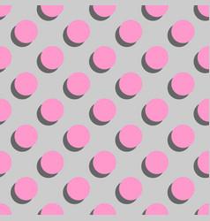 Tile pattern pink polka dots on grey background vector