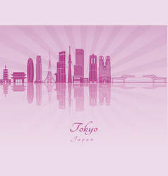 Tokyo v3 skyline purple radiant orchid vector