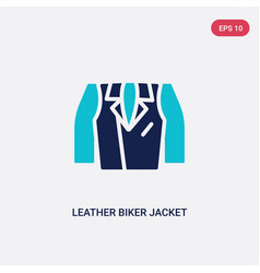 Two color leather biker jacket icon from clothes vector