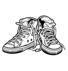 Vintage casual sneakers concept vector