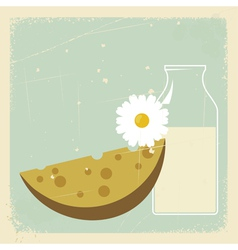 Vintage Milk Cheese Card vector image