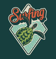 vintage summer surfing colorful emblem vector image