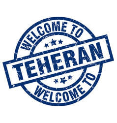 welcome to teheran blue stamp vector image