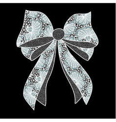 White lacy bow on black background vector