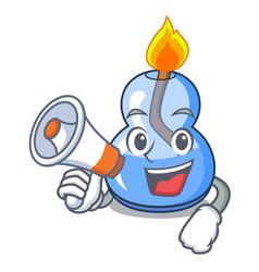 With megaphone alcohol burner character cartoon vector