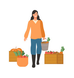 woman on harvesting season lady with carrots vector image