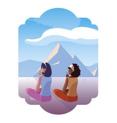 Women couple contemplating horizon in snowscape vector