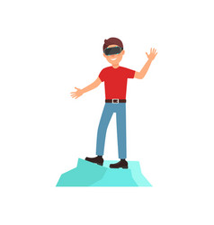 young man playing video game in virtual reality vector image